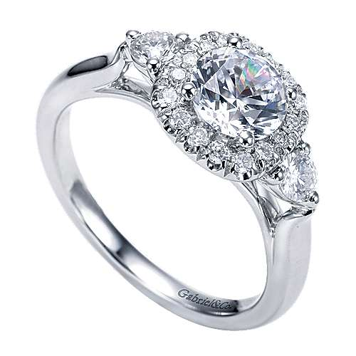 14k White Gold Round 3 Stones Halo Engagement Ring