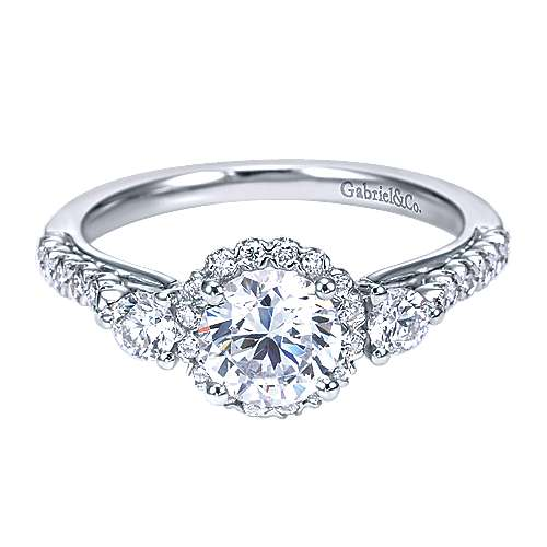 14k White Gold Round 3 Stones Halo Engagement Ring angle 1