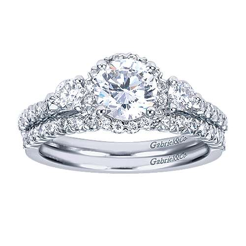 14k White Gold Round 3 Stones Halo Engagement Ring angle 4