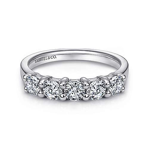 Gabriel - 14k White Gold Round 5 Stone Diamond Anniversary Band