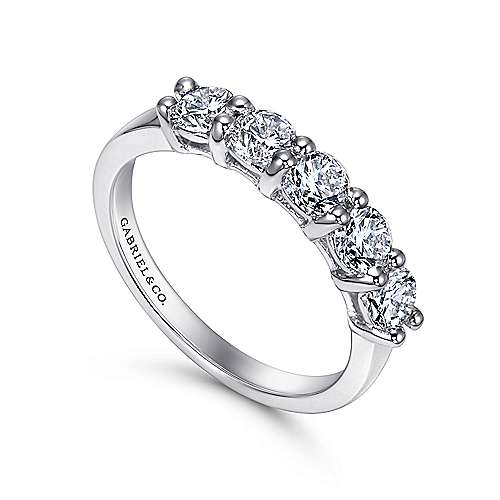 14k White Gold Round 5 Stone Diamond Anniversary Band angle 3