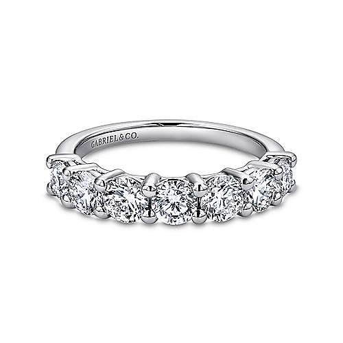 14k White Gold Round 7 Stone Diamond Anniversary Band angle 1