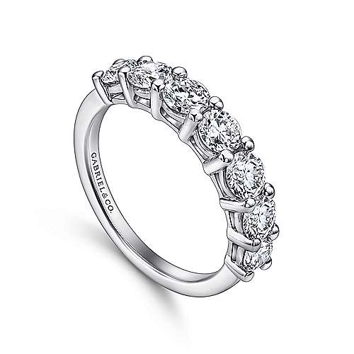 14k White Gold Round 7 Stone Diamond Anniversary Band angle 3