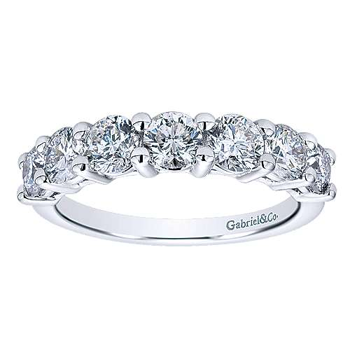 14k White Gold Round 7 Stone Diamond Anniversary Band angle 5