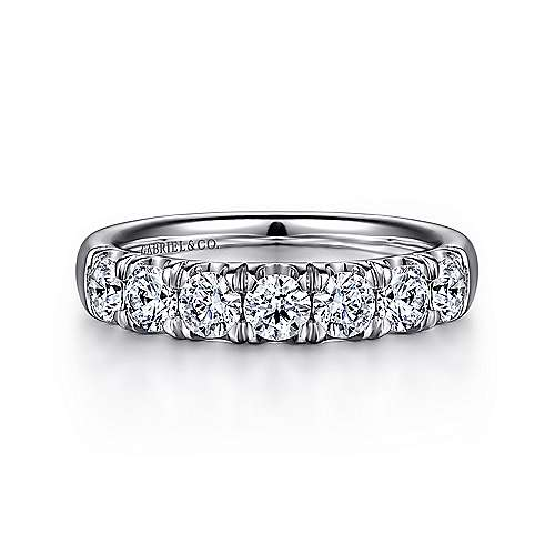 Gabriel - 14k White Gold Round 7 Stone Diamond Anniversary Band