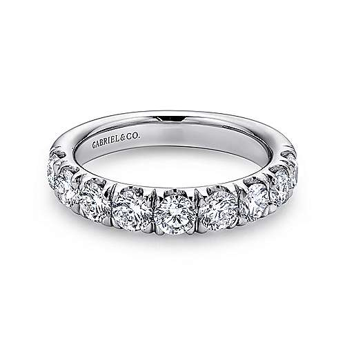 Gabriel - 14k White Gold Round 9 Stone Diamond Anniversary Band