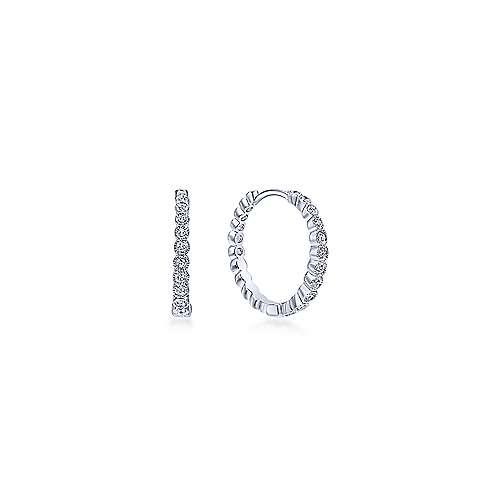 14k White Gold Round Bezel Set Diamond Huggie Earrings