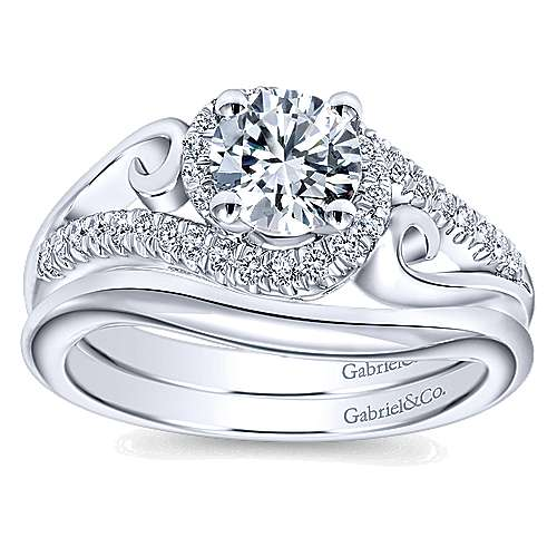 14k White Gold Round Bypass Engagement Ring