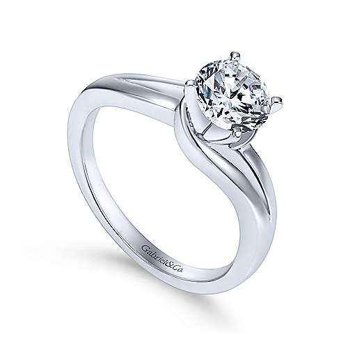 14k White Gold Round Bypass Engagement Ring angle 3