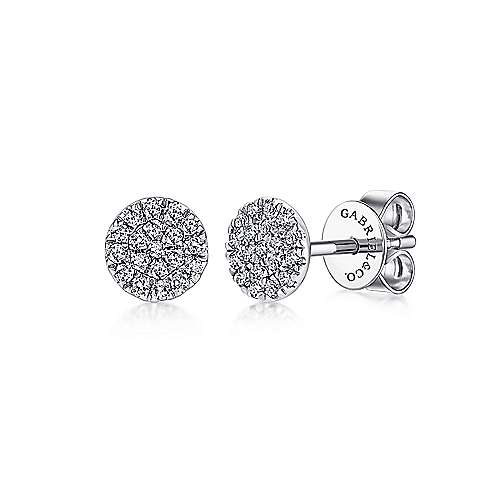 Gabriel - 14k White Gold Round Cluster Diamond Stud Earrings