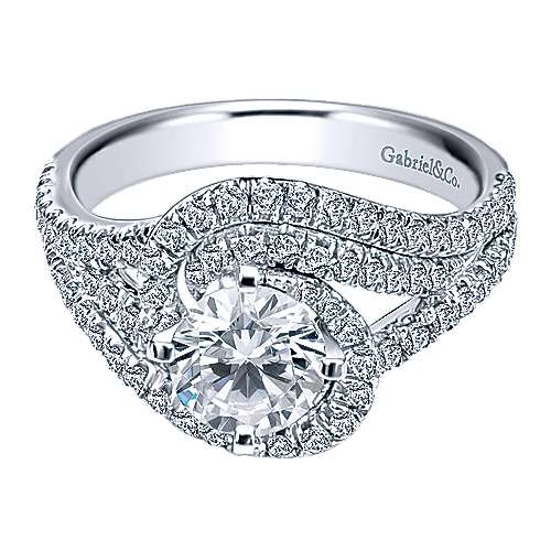 Gabriel - 14k White Gold Round Criss Cross Engagement Ring