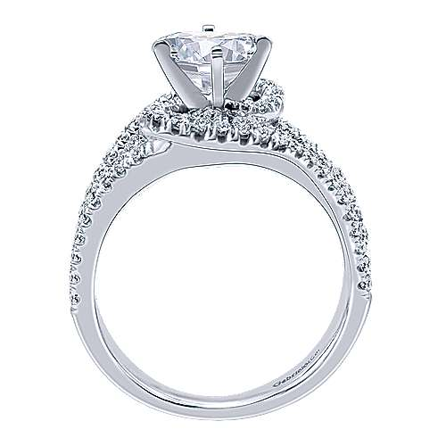 14k White Gold Round Criss Cross Engagement Ring angle 2