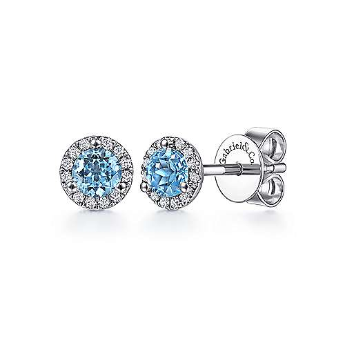 14k White Gold Round Cut Diamond Halo & Swiss Blue Topaz Stud Earrings