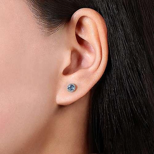 14k White Gold Round Cut Diamond Halo & Swiss Blue Topaz