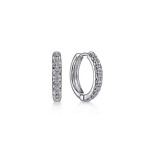 14k White Gold Round Cut Diamond Huggie Earrings angle 1