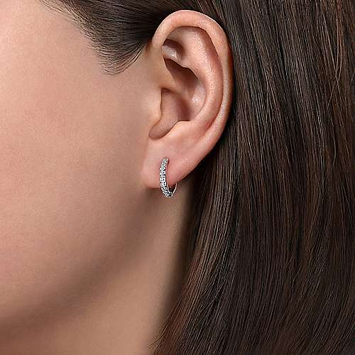 14k White Gold Round Cut Diamond Huggie Earrings angle 2