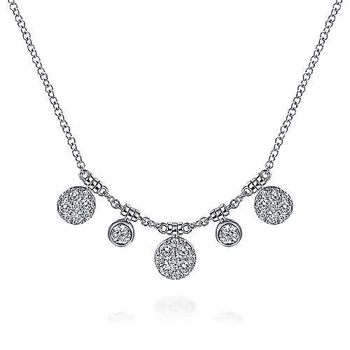 14k White Gold Round Diamond Charm Fashion Necklace