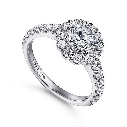 14k White Gold Round Diamond Halo Engagement Ring with Bold Pave Shank angle 3