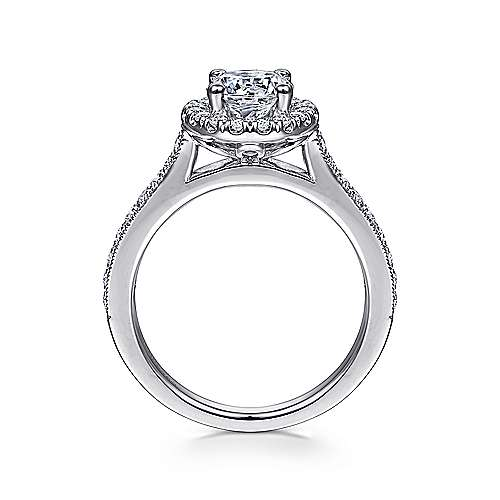 14k White Gold Round Diamond Halo Engagement Ring with Channel Setting angle 2