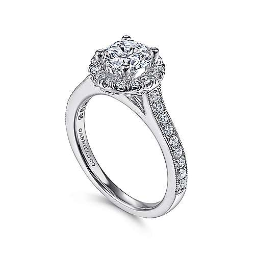 14k White Gold Round Diamond Halo Engagement Ring with Channel Setting angle 3