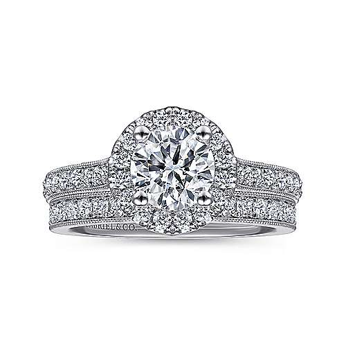 14k White Gold Round Diamond Halo Engagement Ring with Channel Setting angle 4