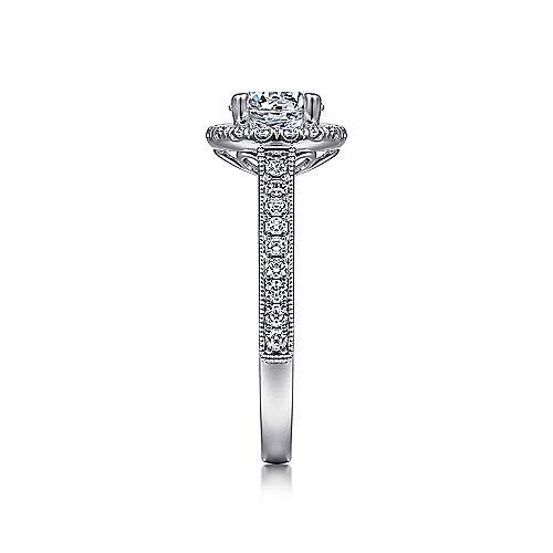 14k White Gold Round Diamond Halo Engagement Ring with Channel Setting angle 5