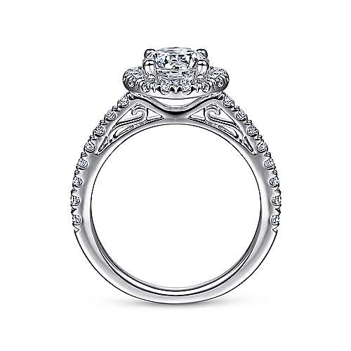 14k White Gold Round Diamond Halo Engagement Ring with Pave Shank angle 2