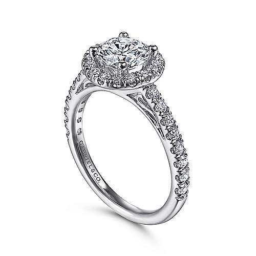 14k White Gold Round Diamond Halo Engagement Ring with Pave Shank angle 3