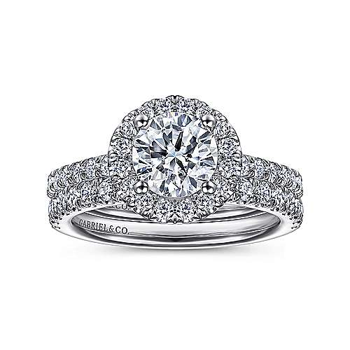 14k White Gold Round Diamond Halo Engagement Ring with Pave Shank angle 4