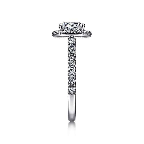 14k White Gold Round Diamond Halo Engagement Ring with Pave Shank angle 5