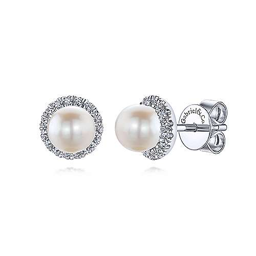 14k White Gold Round Diamond Halo Pearl Stud Earrings