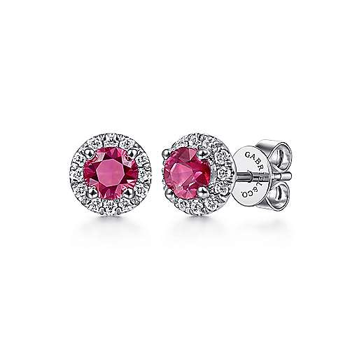 14k White Gold Round Diamond Halo Ruby Stud Earrings