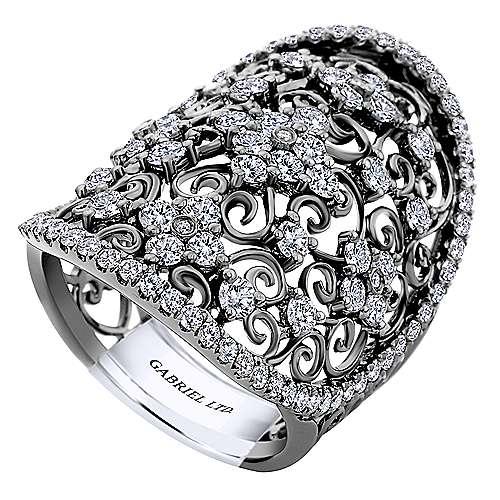 14k White Gold Round Diamond Wide Band Fashion Ladies