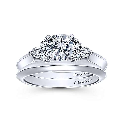 14k White Gold Round Diamond and 3 Side Stones Engagement Ring with Knife Edge Band angle 4