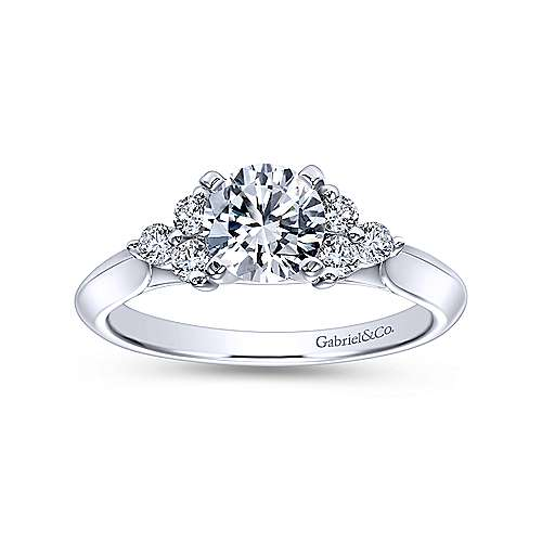 14k White Gold Round Diamond and 3 Side Stones Engagement Ring with Knife Edge Band angle 5