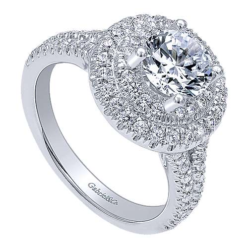 14k White Gold Round Double Halo Engagement Ring