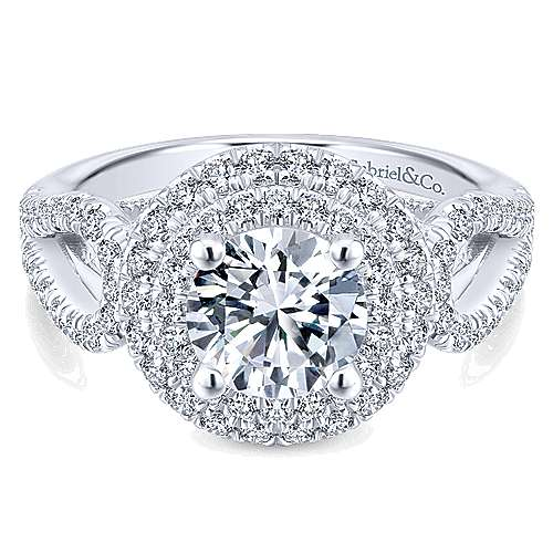 Flora 14k White Gold Round Double Halo Engagement Ring