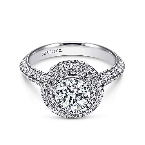 Gabriel - 14k White Gold Round Double Halo Engagement Ring