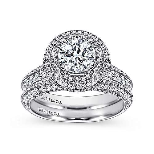 14k White Gold Round Double Halo Engagement Ring angle 4