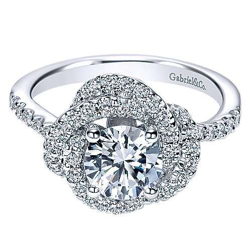 14k White Gold Round Double Halo