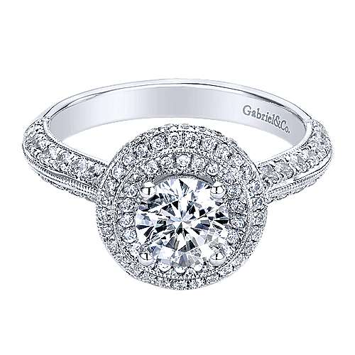 14k White Gold Round Double Halo Engagement Ring angle 1