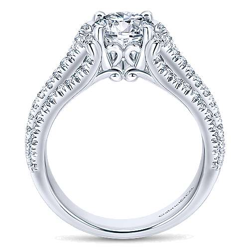 14k White Gold Round Free Form Engagement Ring angle 2