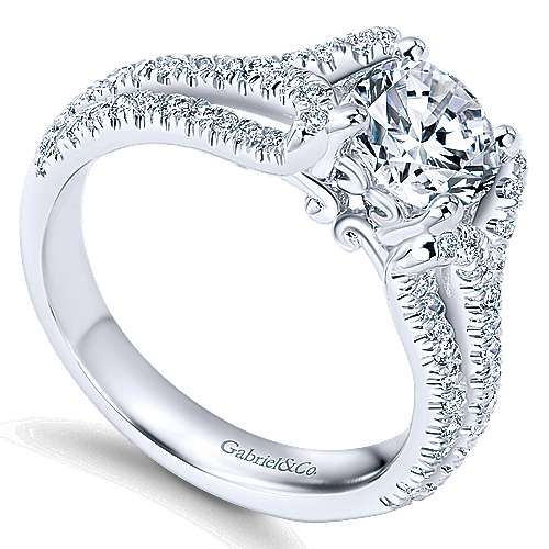 14k White Gold Round Free Form Engagement Ring angle 3