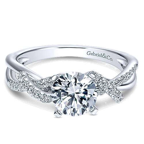 Gabriel - 14k White Gold Round Free Form Engagement Ring