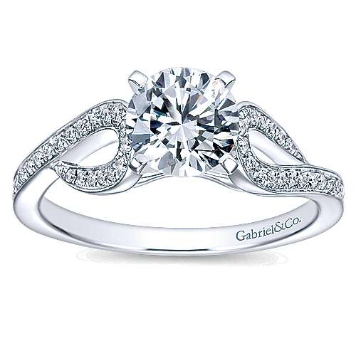 14k White Gold Round Free Form Engagement Ring