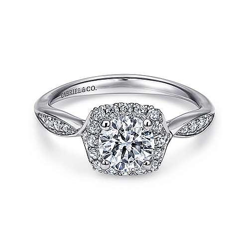 14k White Gold Round Halo Engagement Ring angle 1