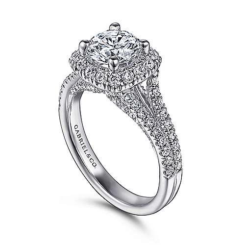 14k White Gold Round Halo Engagement Ring angle 3