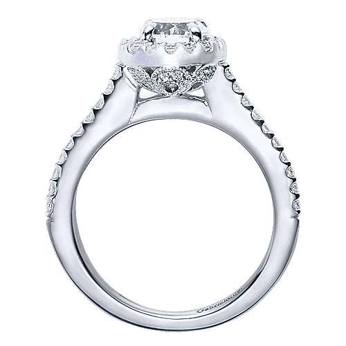 14k White Gold Round Halo Engagement Ring