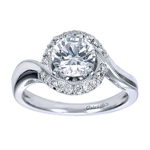 14k White Gold Round Halo Engagement Ring
