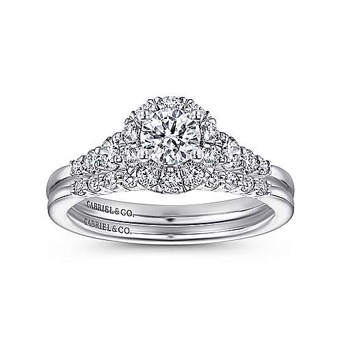 14k White Gold Round Halo Engagement Ring angle 4